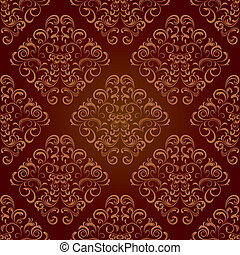 floral, marrom, seamless, padrão
