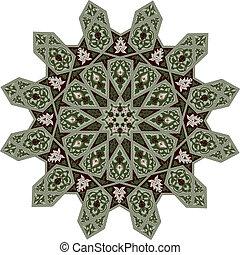 floral, meio oriental, motivo, padrão