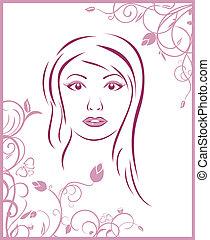 floral, meisje, achtergrond, gezicht