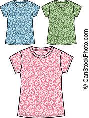 floral, menina, camisetas