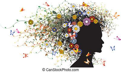 floral, menina, silueta