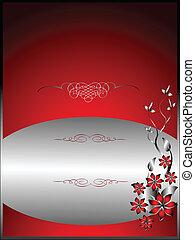 floral, menu, conception, argent, gabarit