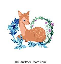 floral, mignon, ornament., cerf