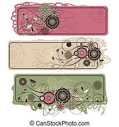 floral, mignon, résumé, bannières horizontales