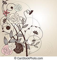 floral, mignon, résumé, fond