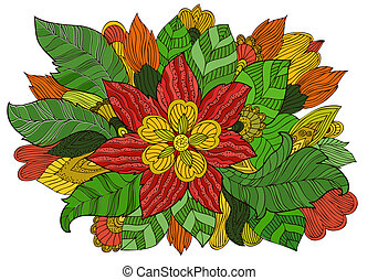 floral, mode, ornament, tekening