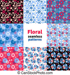 floral model, abstract, set, seamless