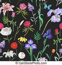 floral model, black , seamless, achtergrond