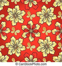 floral model, levendig, rood, seamless