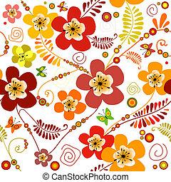 floral model, levendig, seamless