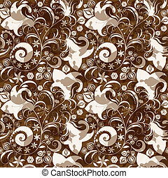 floral model, seamless, brown-white