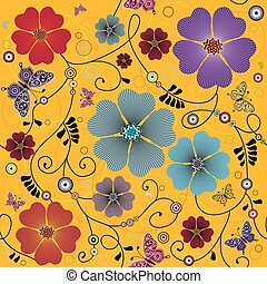 floral model, seamless, gele