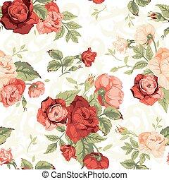 floral model, seamless, rozen, achtergrond, sinaasappel, wit rood