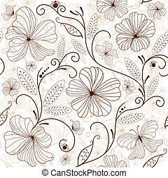 floral model, seamless, white-brown