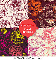 floral model, vector, set, seamless