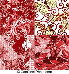 floral modella, astratto, set, seamless