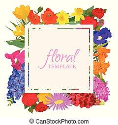 floral, modelo, para, flor, lojas, ou, convite, cartões., bonito, oriental, padrão floral, e, luminoso, ornament., diferente, flores, tal, como, rosas, narciso, papoula, tulipa, banner.