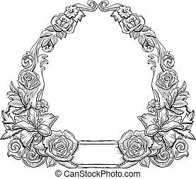 floral, monochroom, frame