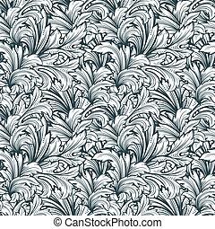 floral, monochroom, pattern., seamless, decoratief