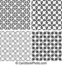floral, monocromático, abstratos, seamless, padrões