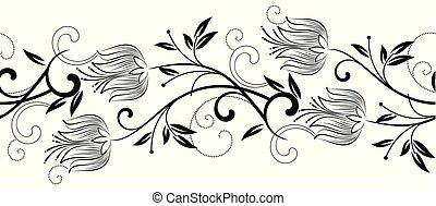 floral, monocromático, borda, seamless