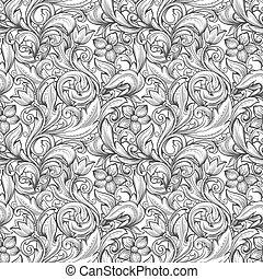 floral, monocromático, pattern., seamless, ornamental