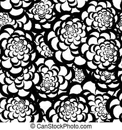 floral, monocromático, seamless, padrão