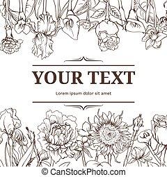 floral, monocromo, plano de fondo, vendimia