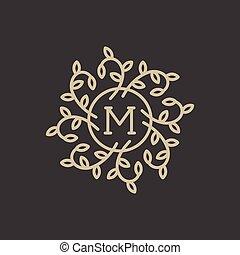 Floral Monogram - Floral monogram design template with...