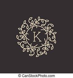 floral, monogram, k, lettre