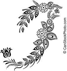 floral, monogram, majuscule, lettre