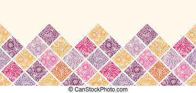 Floral mosaic tiles horizontal seamless pattern border -...