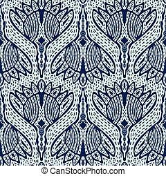 Floral Motif Sashiko Style Japanese Needlework Seamless...