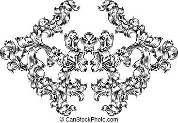 Floral Motif Scroll Pattern in Vintage Style
