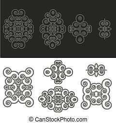 Floral motifs and design elements in swirl style isolated on white