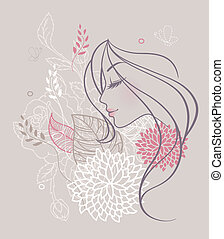 floral, mujer, belleza