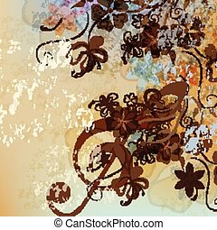 Floral music background with treble