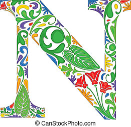 Floral N - Colorful floral initial capital letter N