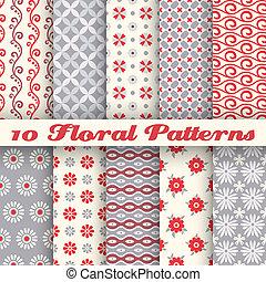 floral, na moda, vetorial, seamless, padrões, (tiling)