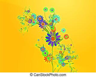floral, naturaleza, diseño, ilustración, themed