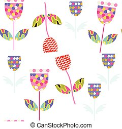 Floral nature fantasy seamless pattern and seamless pattern in swatch menu, vector image
