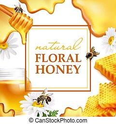 floral, naturel, coloré, cadre, miel