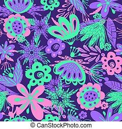 floral, neon, seamless, achtergrond