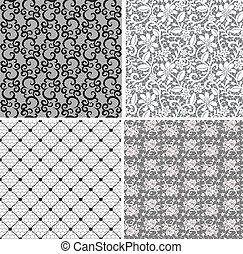 floral net lace set, seamless pattern