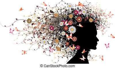 floral, niña, silueta