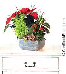 floral, noël, arrangement