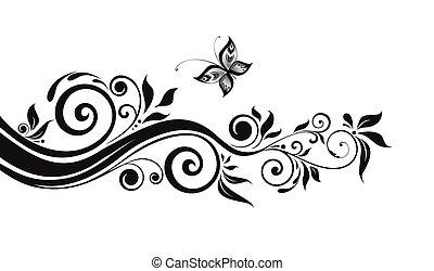 floral, noir, frontière