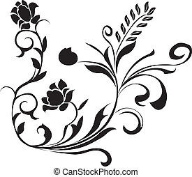 floral, noir