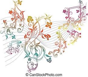 floral, notas música