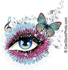 floral, notas música, olho